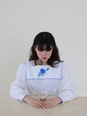 (freckle made♥)blue rose needlepoint blouse