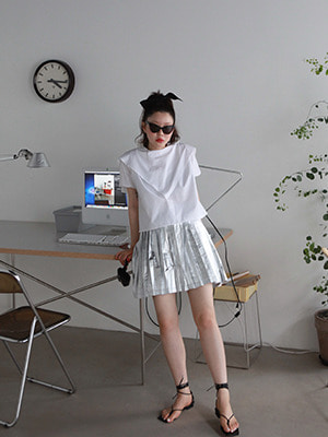 silver pleats skirt
