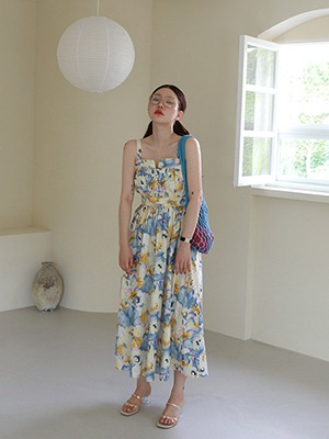 (freckle made♥)60s' long dress(navy,yellow flower!)