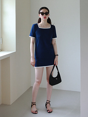(freckle made♥)square neck mini dress