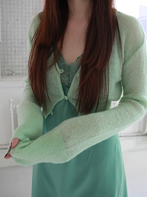 mohair cropped cardigan(ivory,mint!)