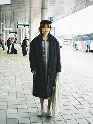 (*freckle)wool oversized coat(dark gray)