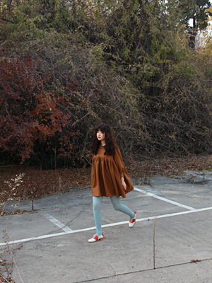 (*freckle)'butter'wool pleats dress 브라운!