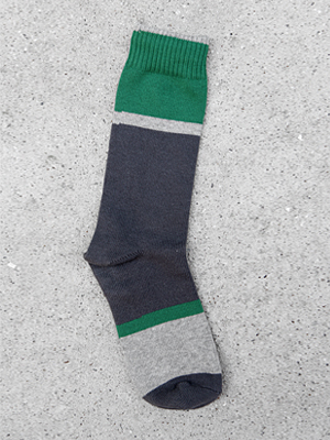 gray/green colour block  socks