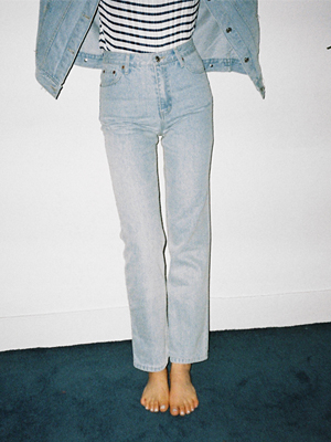 light blue denim jeans with mid waist