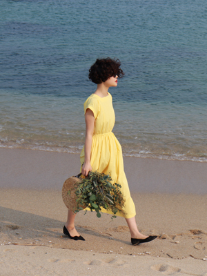(freckle made♥)back button french dress(yellow)