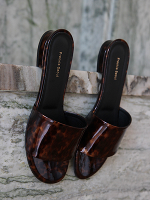 (freckle made♥)leopard leather mules