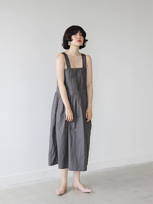 button strap waist dress(white,gray!)