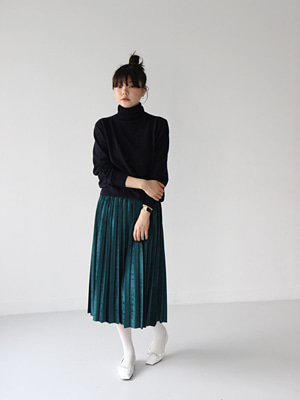 shine pleats skirt(green,navy,orange!)