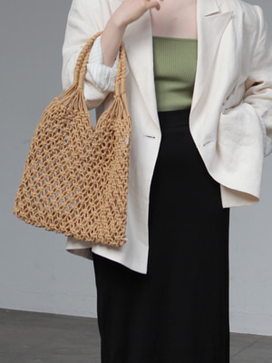 rope net bag(ivory,brown!)