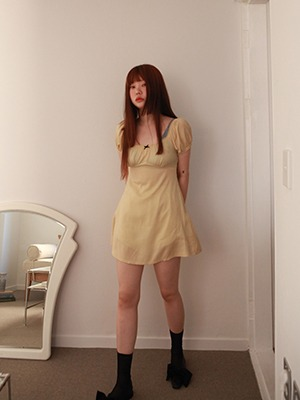 (freckle made♥)little bow mini dress(mustard,mist green!)