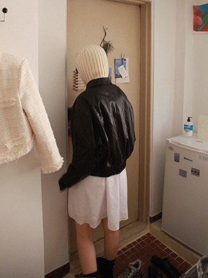 fake leather jacket(white,black!)