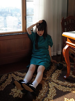 (freckle made♥)tie up ribbon robe dress in teal green