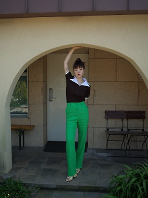 (freckle made♥)green linen straight trousers