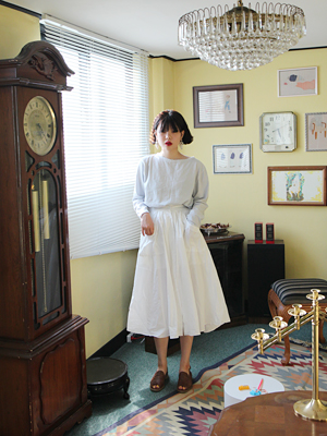 white button full skirt