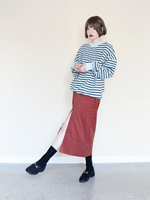 front slit long skirt(brick,blue!)