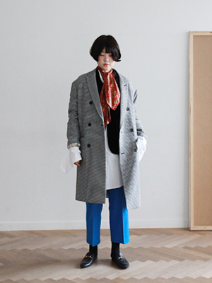 kind oversized coat(deep gray,check!)
